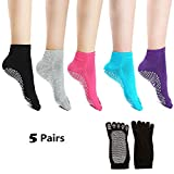 Laviesimple Yoga Socks Full Toe Non Slip Skid Pilates Barre Cotton Grips Sock with for Women 5 Pairs Review