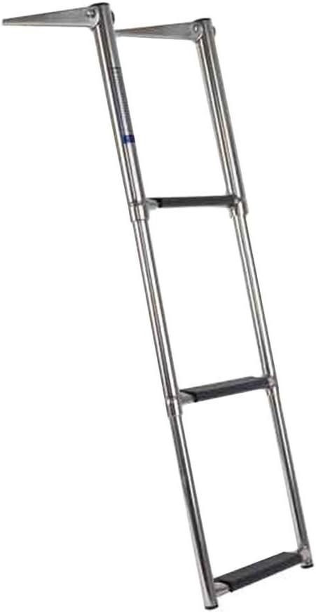 SUBBYE Escaleras para Barcos Escalera de Barco telescópica de 2/3 Pasos, Escalera de pontón de Acero Inoxidable con Pedal Extra Ancho, Capacidad de 440 Libras para Cubierta de Piscina de yate Marino: