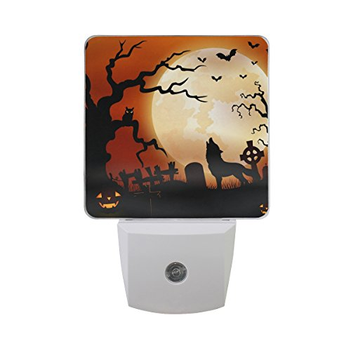 2 PC Plug-in LED Night Lights with Halloween Night Wolf Pumpkins Owl Moon Nightlights with Dusk to Dawn Sensor White Light Perfect for Bathroom Kitchen and Hallway Set 2