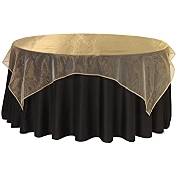 Merveilleux 72 Inch Square Organza Table Overlays Gold