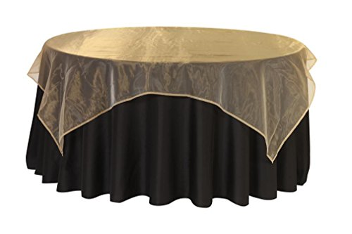 Your Chair Covers - 90 Inch Square Organza Table Overlay Gold, Lightweight Sheer Organza Table Cloths (Organza Overlay Table)