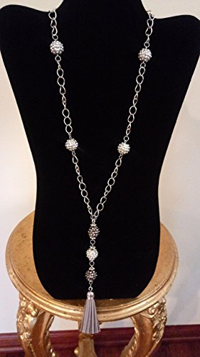 Rhinestone Cluster Balls and Chain Necklace! With Vegan Leather Tassel