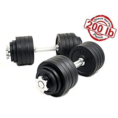 Starring 105 - 200 Lbs adjustable dumbbells (200 LBS Black)