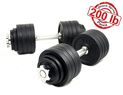 Unipack Cast Iron Adjustable Dumbbells 200lbs Black