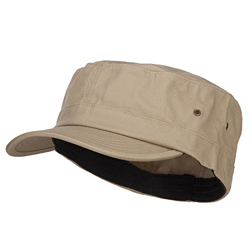 - e4Hats.com Big Size Fitted Trendy Army Style Cap - Khaki 2XL-3XL