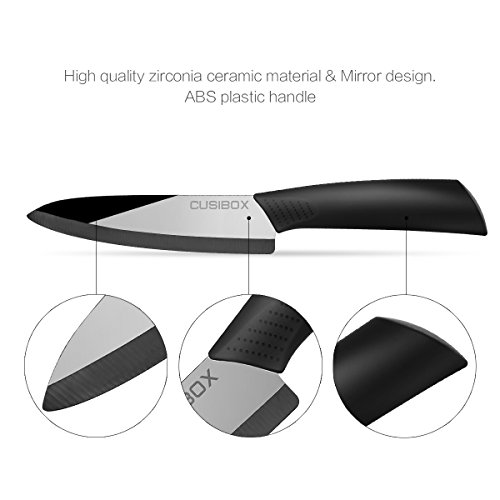 Ceramic Kitchen Knife, CUSIBOX 6 Inch Ceramic Kitchen Chef Knife with Non-Slip Handle and Protective Sheath, Black