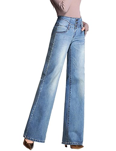(Minghe Women's Wide Leg Jeans Retro High Waisted Curvy Stretch Bootcut Denim Jean Lake Blue)