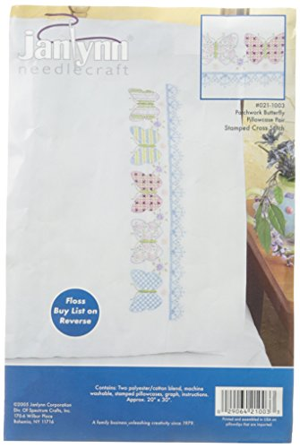 Janlynn Stamped Cross Stitch Kit, Patchwork Butterfly Pillowcase Pair