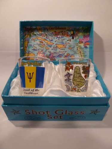 Barbados Caribbean Boxed Shot Glass Set (Set of 2)