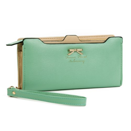 Damara Womens Zippered Faux Leather Wallet Practical Card Case Holder,Green Zippered Faux Leather Purse