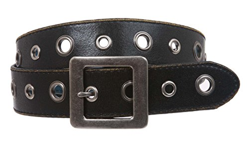 Square Buckle Grommets Vintage Distressed Leather Jean Belt Size: L 36 - 38 Color: Black - Buckle Grommets