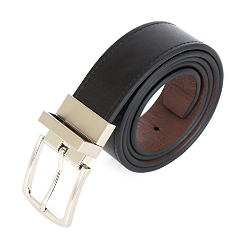 U.S. Polo Assn. Men's Reversible Leather Belt with Contrast Stitch, Black/Brown, (Brown Reversible Stitch)