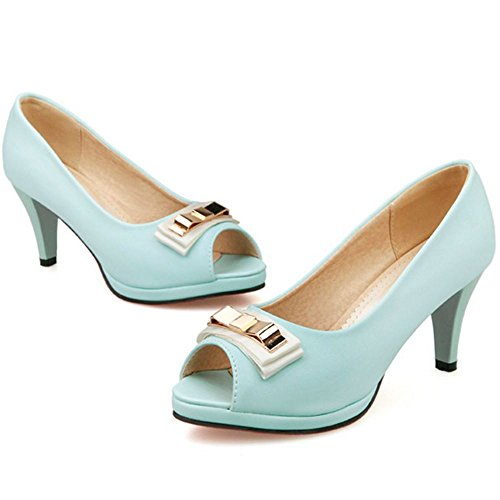 Peep On Sandals Block with Toe Heel TAOFFEN Blue Slip women bow Classic XEWwWgqZ