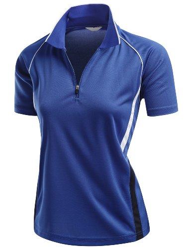 Coolmax 2 Tone Collar Short Sleeve Zipper Polo Tee Cobalt Size (Two Tone Collar)