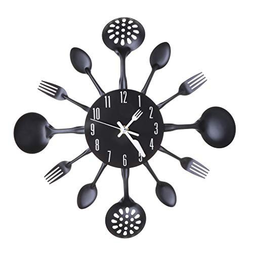 cici store Cutlery Metal Wall Mounted Clock,Spoons Forks Creative Modern Design Clock for Home Office Bedroom Decoration