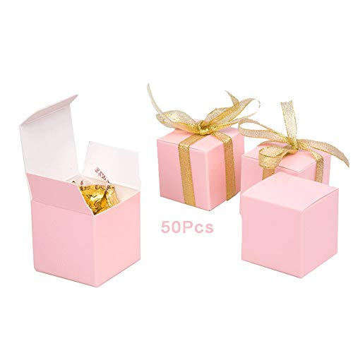 Candy Boxes Pink Small Gift Boxes 2x2x2 inch with Ribbon,50pcs,Square Paper Treat Boxes Party Favor Boxes for Wedding,Bridal Shower,Birthday,Baby Shower,Anniversary,Holiday Celebration Party Supplies