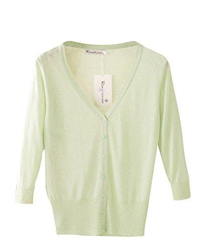 Verde Donne Protezione DianShao Cappotto Traspirante Solare V Maglia Collare Cardigan Pisello In Lunga Manica OT4qzxT