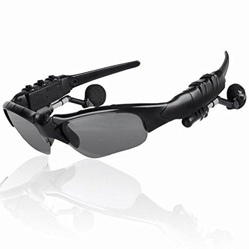[ฺBlack]Outdoor Sport Bluetooth Sunglasses With Mic Wirless Headset Earphones Sun Glasses Stereo Headphone For iPhone Samsung - Xiaomi Sunglasses