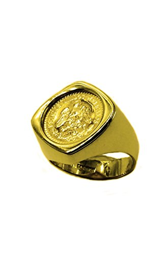 - TEX 14K Yellow Gold 20 Mm Coin Ring A 22K Mexican (Dos 2 1/2) Pesos Coin