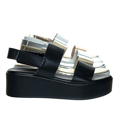 Bonus01 Black Flatform Open Toe Sandal w Slingback Hook & Loop & Double Strap (Double Back Strap)