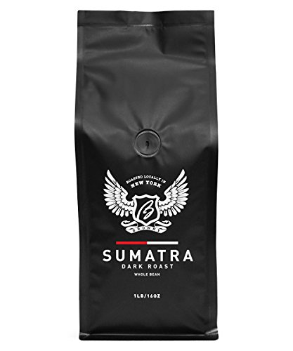 Browny Indonesian Sumatra Organic Roasted Coffee Whole Beans - Premium Artisan Dark Roast in 16oz (1 Pound)