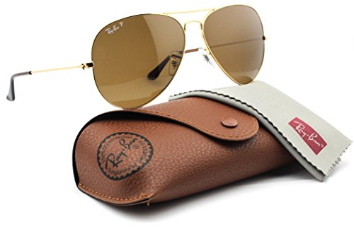 Ray-Ban RB3025 001/57 Unisex Aviator Sunglasses Polarized (Gold Frame/Brown Polarized Lens 001/57, - Ban Aviator Large Sunglasses 62mm Ray Original
