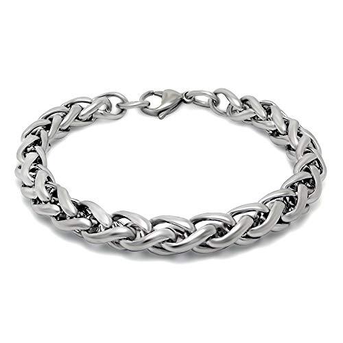 Never give up Men's Bone Pattern Fashion Bracelet Titanium Steel Simple Steel Bracelet Jewelry