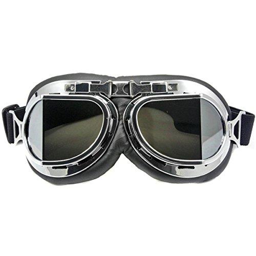 Nsstar Raf Pilot Flying Motorcycle Scooter Biker Motocross Cruisers Sun UV Wind Eye Protect Helmet Goggles Chrome (Best Nsstar Motorcycle Helmets)