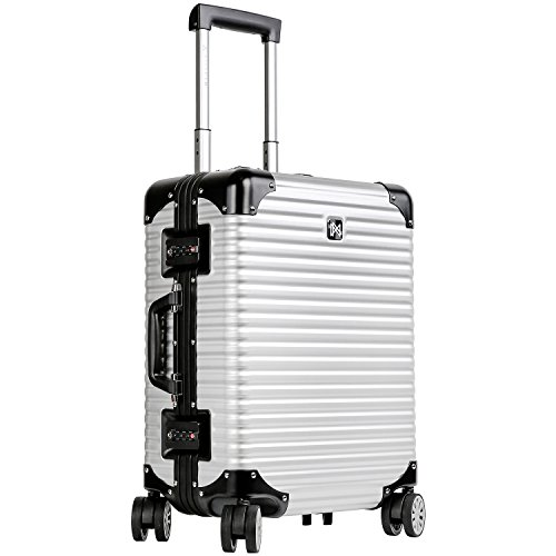 LANZZO Aluminum Magnesium Alloy Luggage with Spinner Wheels TSA Lock Approved Hardshell Travel Suitcase, 20inches, Silver by LANZZO