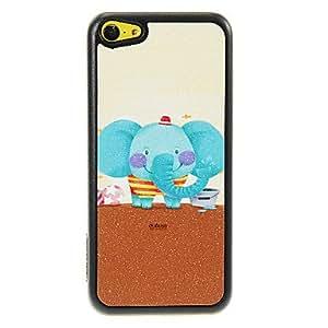 HC- Sonreír patrón de dibujos animados elefante Shimmering Caja dura de la PC para el iPhone 5C