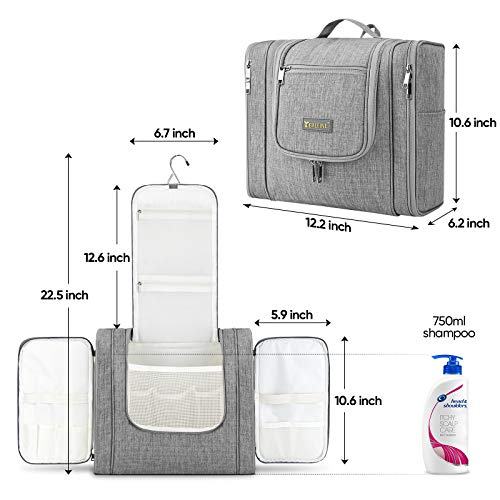 BALEINE Large Toiletry Bag for Women and Men, Water-Resistance Cosmetic Bags for Toiletries with Hanging Hook, Makeup Organizer for Travelling (Gray)