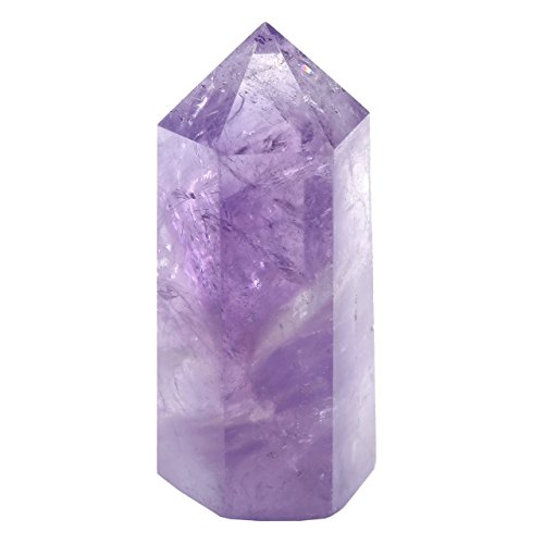 JOVIVI 6 Facet Self Standing Natural Tumbled Single Point Amethyst Healing Chakra Crystal Point Wand - 1.57 to 1.97 Inch from Jovivi