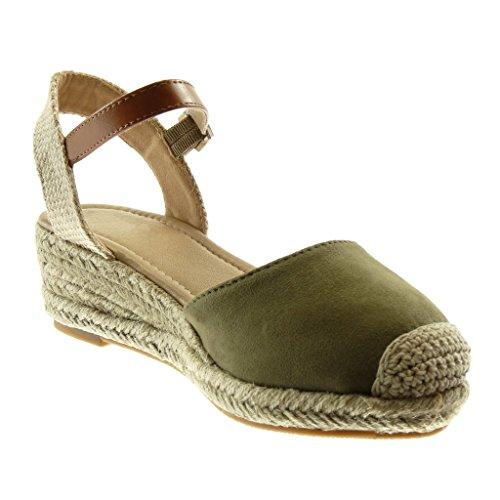 Corde Tréssé 5 cm Vert Talon Matière Bloc Cheville Plateforme Angkorly Lanière 5 Sandale BI Chaussure Mode Mule Femme waxZqxBvP
