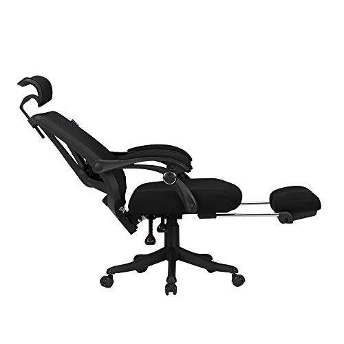 LiRuiPengZY GWDJ Swivel Chair,Ergonomic Chair Office Chair Computer Chair Home Mesh Swivel Chair (Color : Black - with Foot Support)