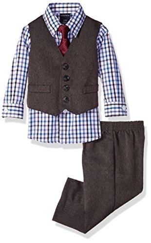 Nautica Dressy Vest Set, Herringbone Red, 18m