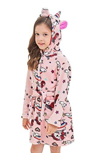 Soft Unicorn Hooded Bathrobe Sleepwear - Unicorn Gifts for Girls (4-5 Years, Pink Unicorns) -