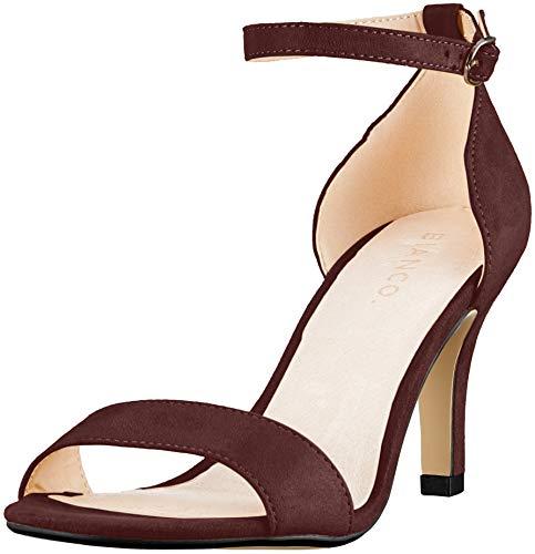 Rosso bordeaux Bianco Sandali con alla Basic 411 caviglia cinturino Low Donna qwOgA1
