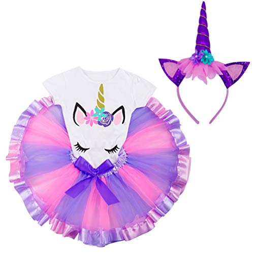 LYLKD Little Girls Unicorn Outfit Dress,Layered Rainbow Tutu Skirt,Unicorn T-Shirt and Unicorn Horn Headband. (Light Purple, L,4-5 ()