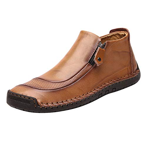 Chelsea Boots Men Ankle Leather Slip-On Soft Resistant Driving Loafers Walking Work Dress Shoes (US:8.5, Gold)