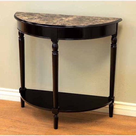 Half Moon Marble (Home Craft Entryway Console Table Half Moon with Faux Marble Top and Wood Base Black Finish 33