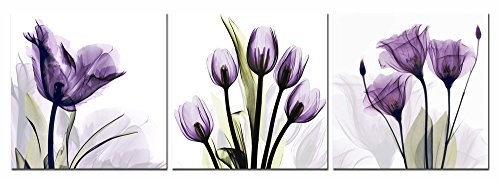 Mirror Art Photo (Yang Hong Yu Canvas Prints Purple Flower Photos on Canvas Wall Art Stretched and Framed Modern Decor Paintings Giclee Artwork for Home Decoration 3pcs 12x12inch)