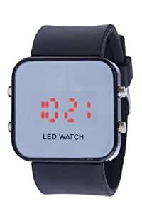 Black LED Mirror Digital Luxury Sports Watch Unisex for Men and Women Silicone Jelly Band-Black
