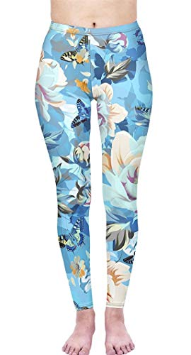 Abyelike Women's Digital Printed Leggings Soft Basic Solid Patterned Stretchy Workout Yoga Pants (Floral Garden, One Size)