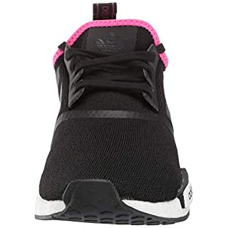 adidas Originals mens Nmd_r1 Running Shoe, Black/Black/Shock Pink, 4 US