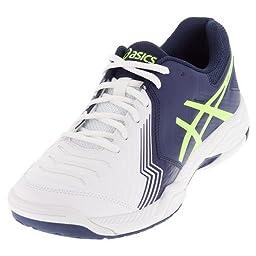 ASICS Men\'s Gel-Game 6 Tennis Shoe, White/Indigo Blue/Safety Yellow, 8.5 M US
