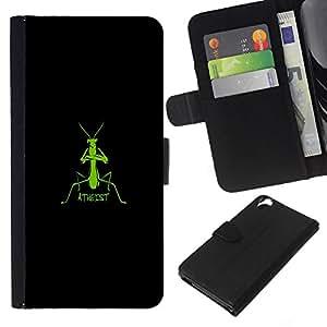 YiPhone /// Tirón de la caja Cartera de cuero con ranuras para tarjetas - Ateo Mantis religiosa divertido - HTC Desire 820