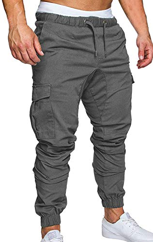 ZOEREA Jogger Cargo Men's Chino Jeans Casual Trouser Outdoor Working Pants (Gray-New Version, L)