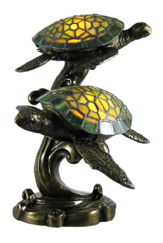 Beautiful Swimming Sea Turtles Stained Glass Lamp