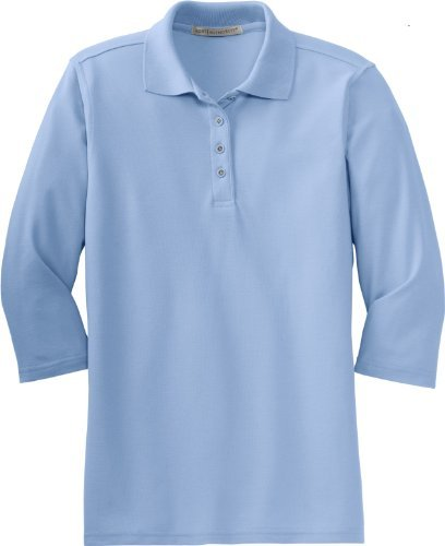 Port Authority Women's Silk Touch 3/4 - Sleeve Sport Shirt, light blue, Large by Port Authority