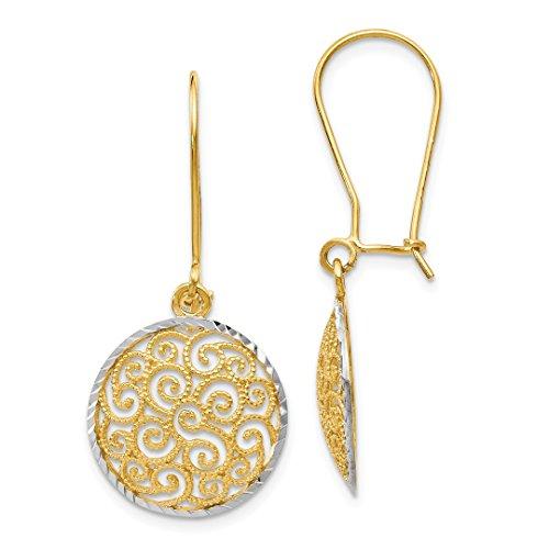 14k Two Tone Yellow Gold Filigree Drop Dangle Chandelier Earrings Fine Jewelry For Women Gift Set